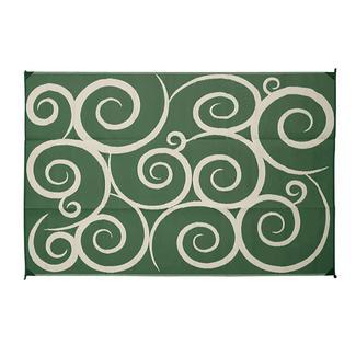 Reversible Swirl Design Patio Mat, 9' x 12', Green/Cream