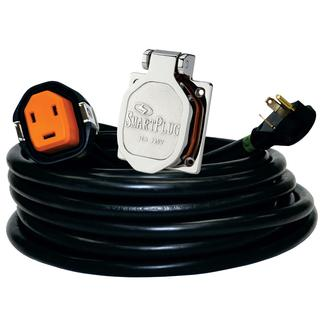 30 Amp 30&#x27&#x3b; Cordset and Stainless Steel Inlet, Black&#x2f&#x3b;Stainless Steel