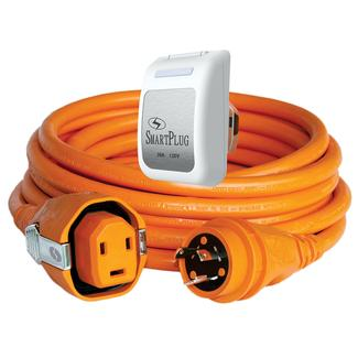 30 Amp Dual Configuration 50' Cordset with Twist-Type Connection and Non-Metallic Inlet, Orange/White
