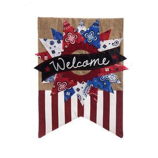 Patriotic Banner Welcome Garden Burlap Flag