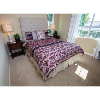 Damask Foliage Stripe Bedding, 10 piece set, Burgundy