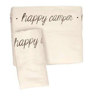 Microfiber Embroidered Sheet Set Ivory, Happy Camper, Short Queen