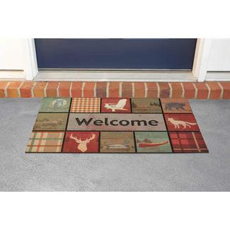 Lodge Welcome Design Patio Mat, 18'' x 30'', Multi-Color