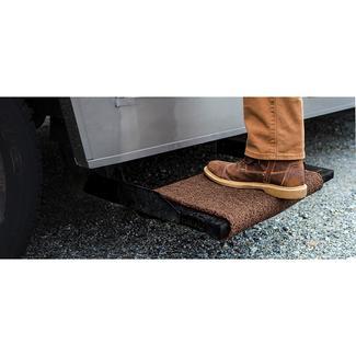 """Premium Wrap Around RV Step Rug, 18"""", Brown"""