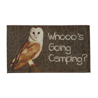 """Indoor/Outdoor Mat, 18"""" x 30"""", Whooo's Going Camping"""