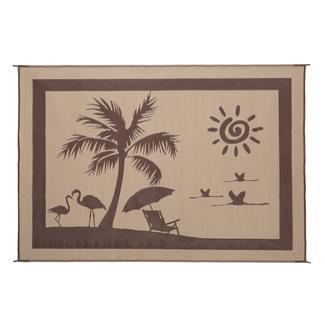 Reversible Paradise Design Patio Mat, 8' x 11', Brown/Beige