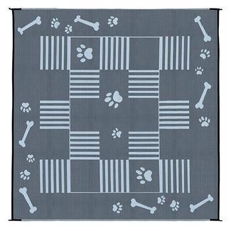 Dog Paw Bone Design Patio Mat, 9' x 9', Black/White