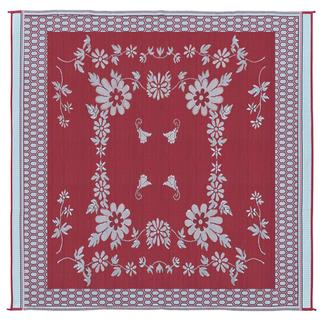 Reversible Floral Design Patio Mat, 9' x 12', Burgundy/White