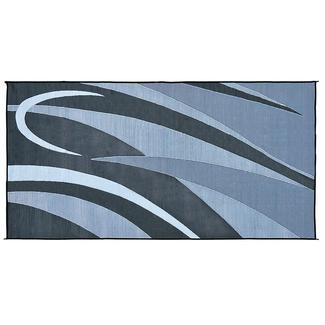 Ming's Mark Reversible RV Patio Mat, 8' x 20', Black/Silver Art Graphic