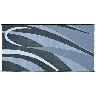 Reversible RV Graphic Design Patio Mat, 8&#x27&#x3b; x 20&#x27&#x3b;, Black&#x2f&#x3b;Silver
