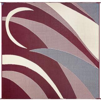 Patio Mat, Polypropylene, Graphic Design, 8' x 16', Burgundy/Black