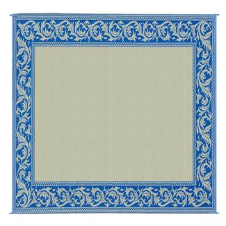 Reversible Classical Design Patio Mat, 9' x 12', Blue/Beige