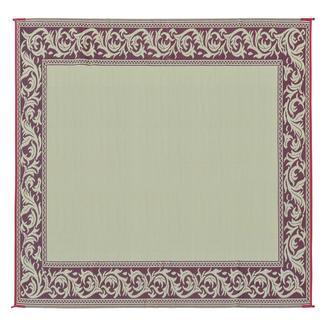 Reversible Classical Design Patio Mat, 9' x 12', Burgundy/Beige