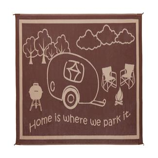 """Reversible """"Home Is Where We Park It"""" Patio Mat, 8' x 11', Brown/Beige"""