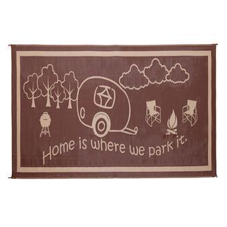 &quot&#x3b;Home Is Where We Park It&quot&#x3b; Patio Mat, 8&rsquo&#x3b; x 18&rsquo&#x3b;, Brown&#x2f&#x3b;Beige