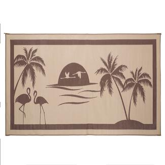 Reversible RV Tropical Oasis Design Patio Mat, 8' x 18', Brown/Beige