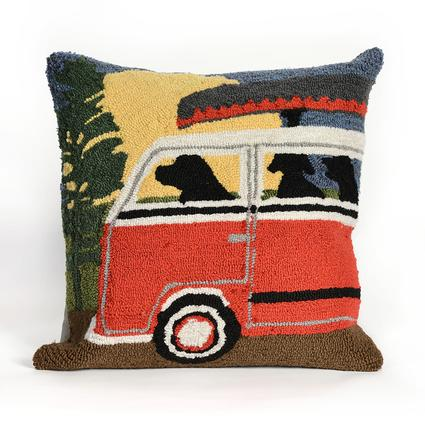 Red Camping Trip Pillow