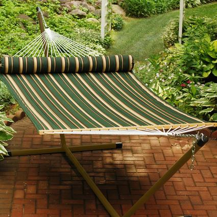 Quilted Hammock with Pillow, Green - 13'