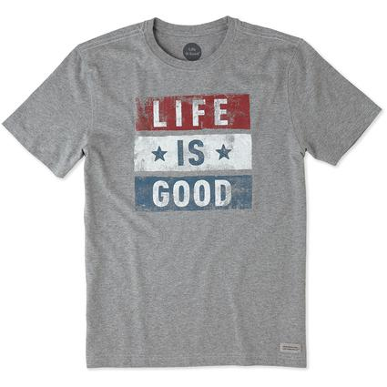 Men's Life is Good Stars and Stripes Tee, M