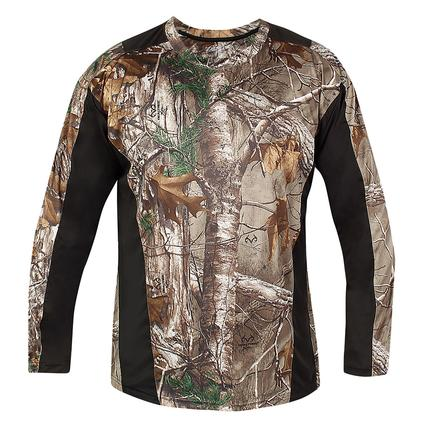Realtree Men's Long Sleeve Active Tee, Black, Large