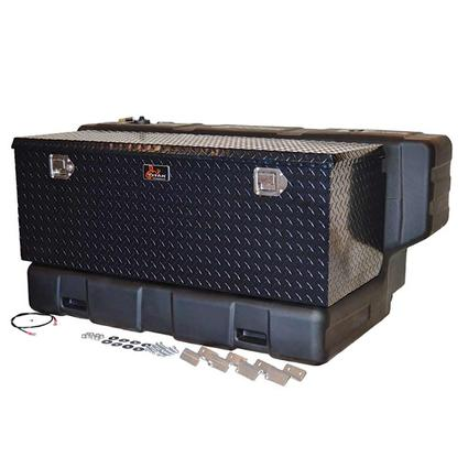 Titan In-Bed Fuel Transfer Tank, 90 Gallon Hammerhead L-Shaped Transfer Tank with Black Diamond Aluminum Utility Box