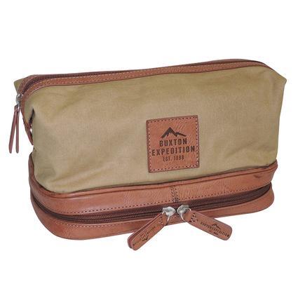 Buxton Huntington II Bottom Zip Travel Kit, Tan