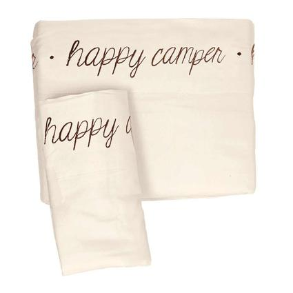 Microfiber Embroidered Sheet Set Ivory, Happy Camper, Short Queen