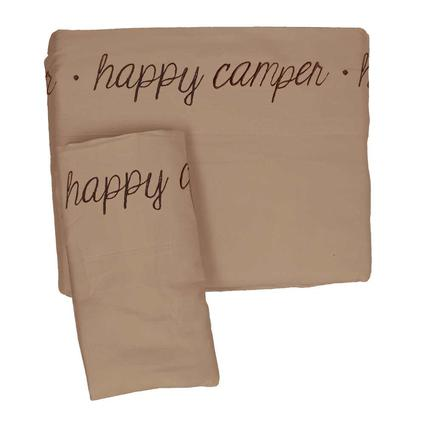 Microfiber Embroidered Sheet Set Taupe, Happy Camper ...