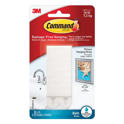 Command Large Bath Picture Hanging Strips 4 Pack White 3m 17206b