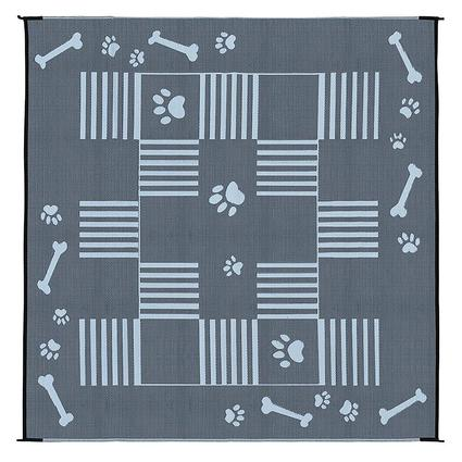 Patio Mat, Polypropylene, Dog Paw Bone Design, 9 x 9, Black/White
