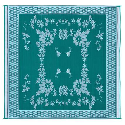 Patio Mat, Polypropylene, Floral Design, 9 x 12, Green/White