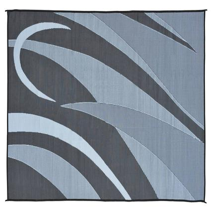 Patio Mat, Polypropylene, Graphic Design, 8 x 12, Black/Silver