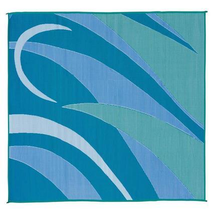 Patio Mat, Polypropylene, Graphic Design, 8 x 12, Blue/Green