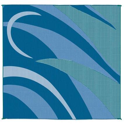 Patio Mat, Polypropylene, Graphic Design, 8 x 16, Blue/Green