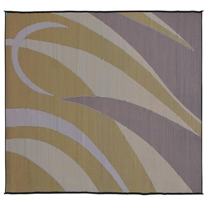 Ming's Mark Reversible RV Patio Mat, 8' x 20', Brown/Gold Art Graphic