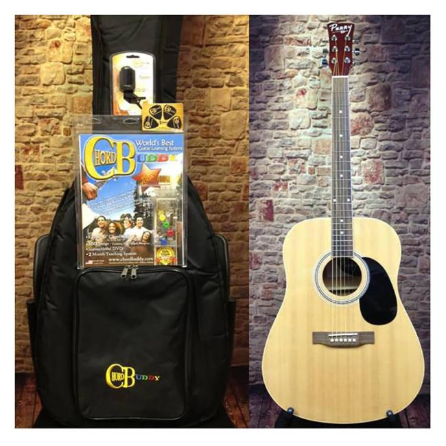 Perry Adult Dreadnought Acoustic Guitar Combo, Natural - Chord Buddy ...