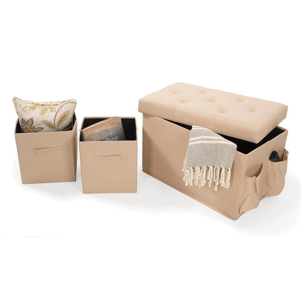 Storage Bench With 2 Cubes Khaki Enchanted Home Pet Co2678 16 Tau Furniture Camping World