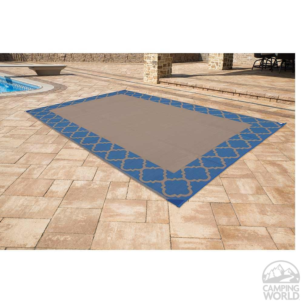Charming ... Patio Mat, Polypropylene, Trellis Design, 9u0027x12u0027, Navy ...