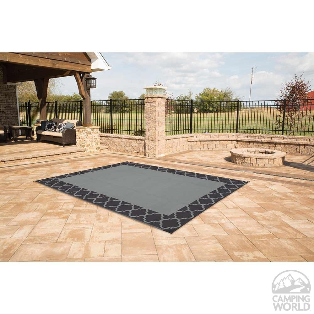 ... Patio Mat, Polypropylene, Trellis Design, 6u0027x9u0027, Black ...