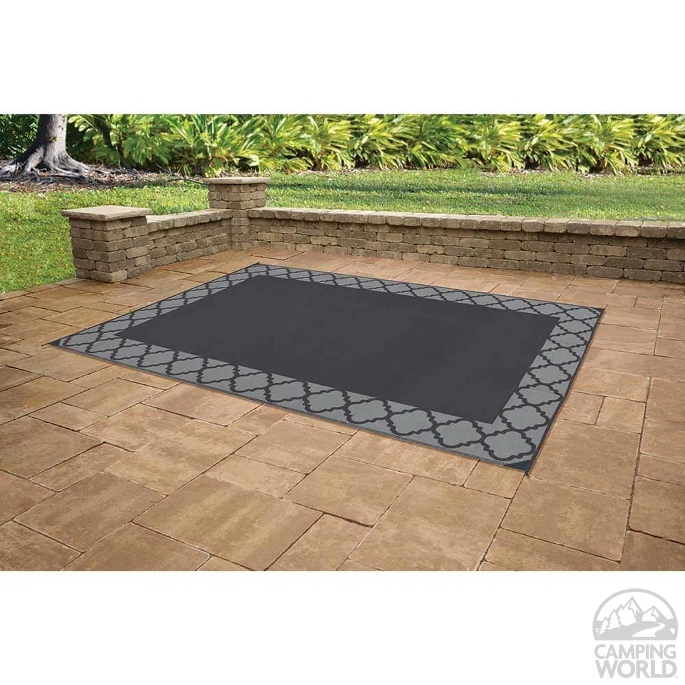 Patio Mat, Polypropylene, Trellis Design, 9u0027x12u0027, Black/Gray ...