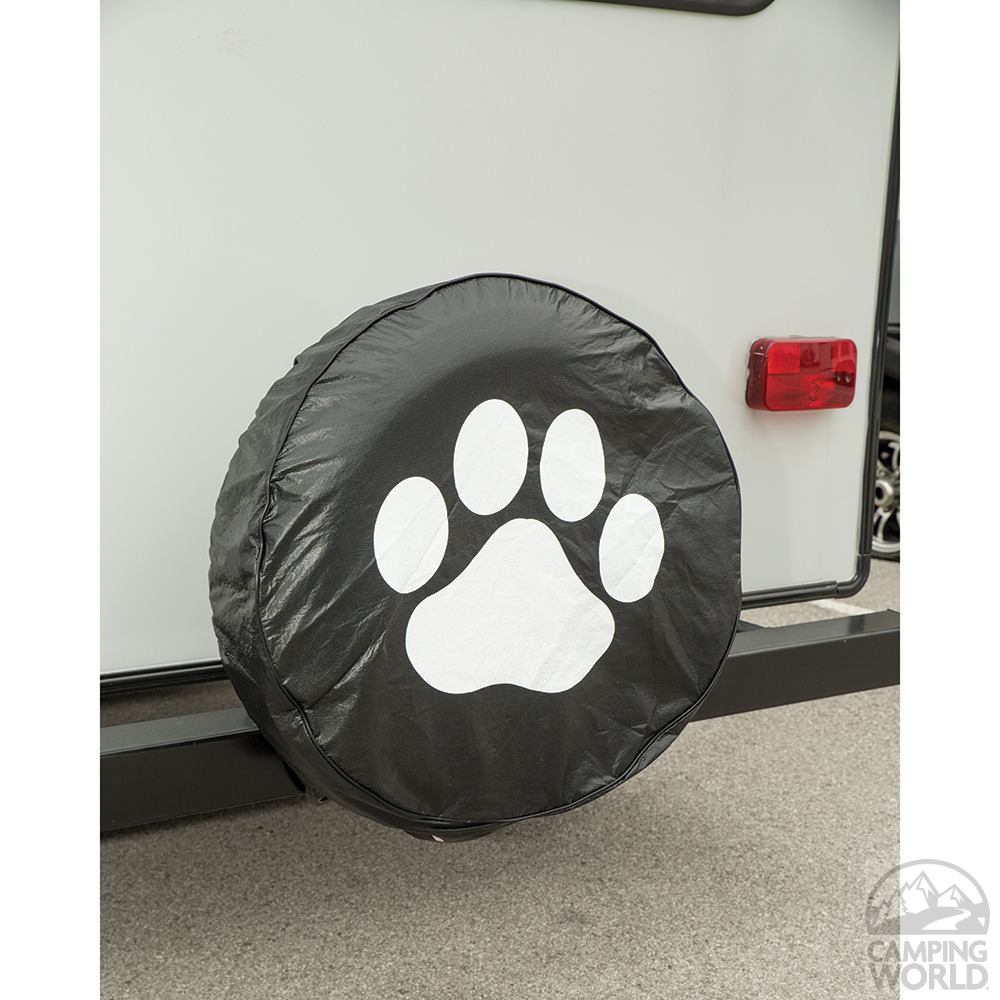 Vinyl Spare Tire Cover Black Paw 27 Elements Covers