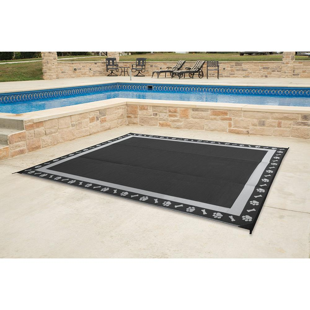 ... Patio Mat, Polypropylene, Paw Print Design, 9u0027x12u0027, Black/ ...