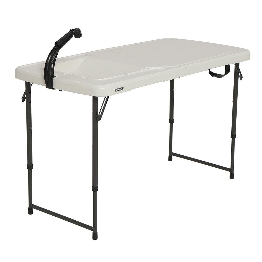 Lovely ... Lifetime 4u0027 Fold In Half Adjustable Height Outdoorsman Table ...