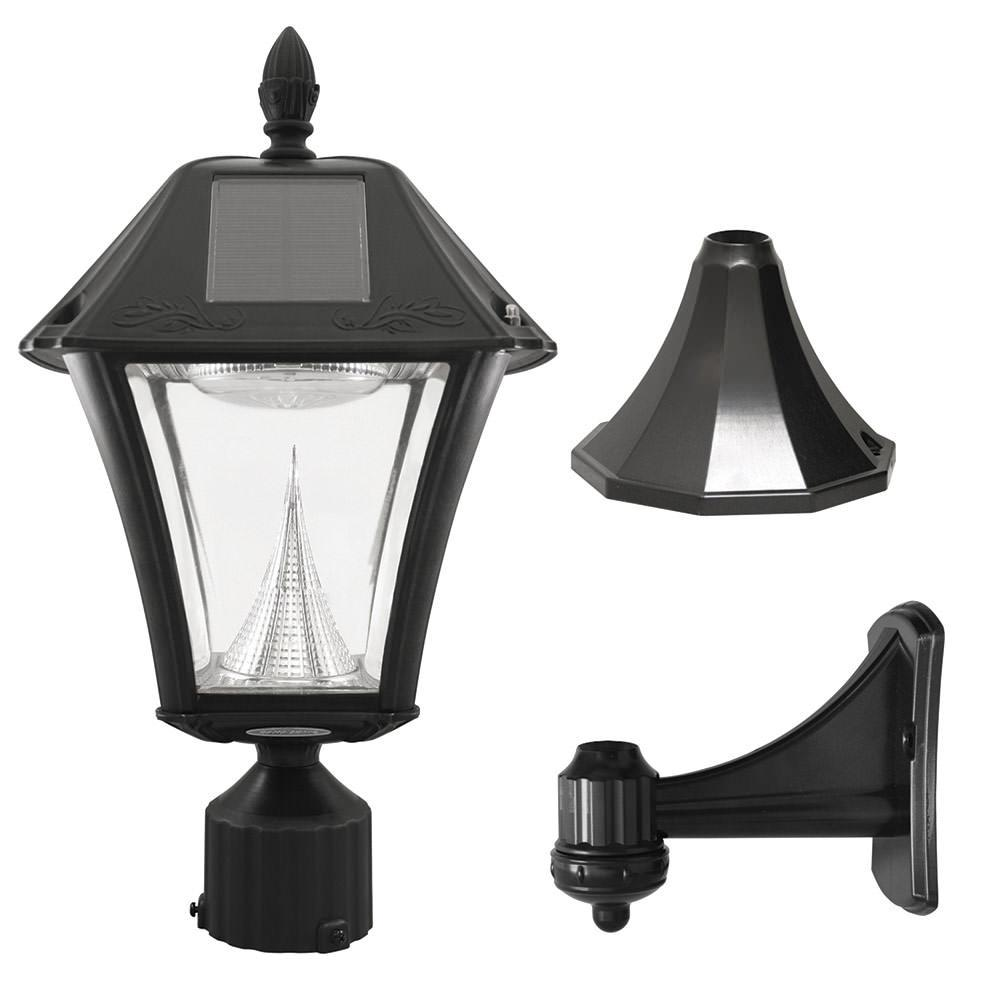 baytown ii solar lamp post with ez anchor black finish gama sonic