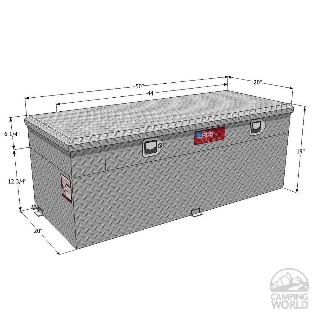 Tool Box Fuel Tank Combo : Rds aluminum auxiliary fuel tank toolbox combo gallon