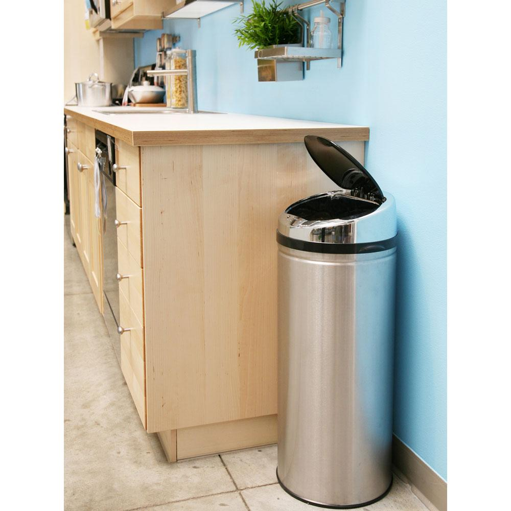 ITouchless Kitchen Size Automatic Stainless Steel Touchless Trash Can