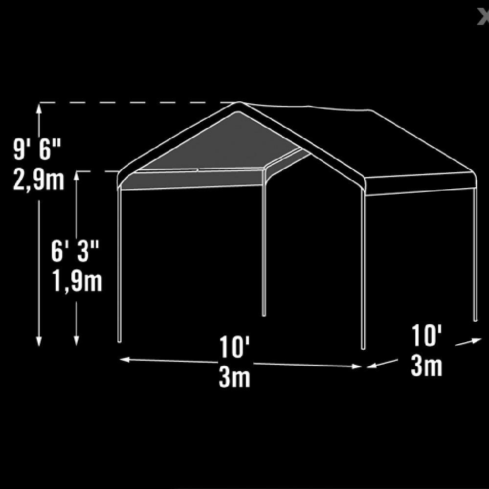 10x10 max ap compact canopy - shelterlogic 23521 - instant garages