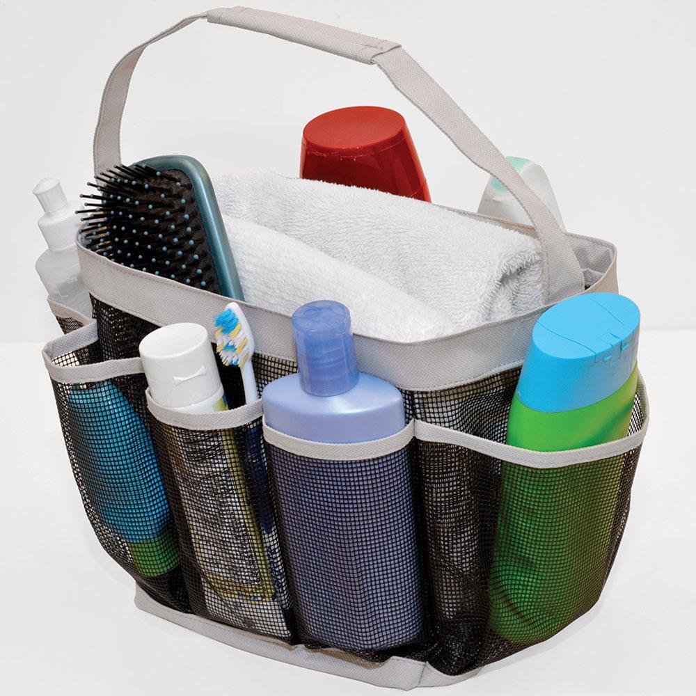 Mesh shower organizer four corners df baho14 bathroom for Bathroom accessories organizer