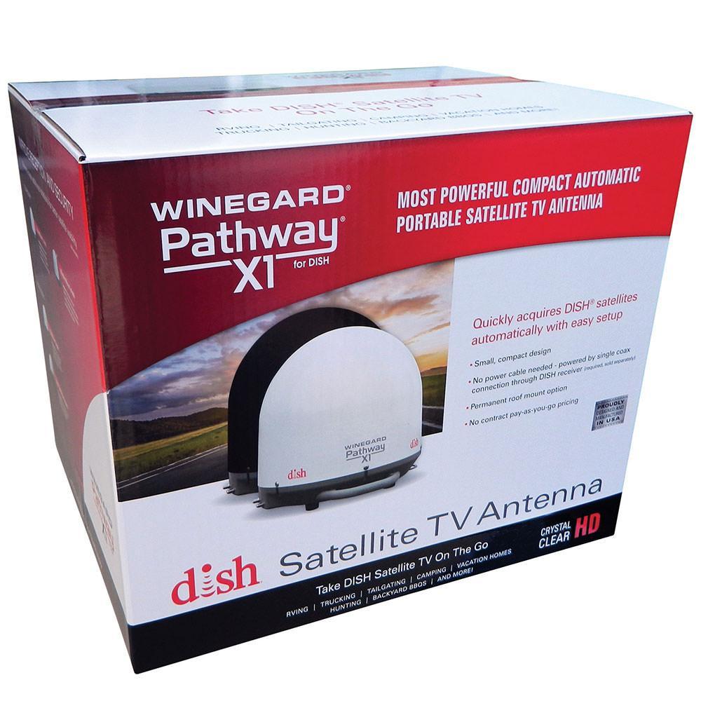 winegard pathway x1 portable satellite antenna white winegard