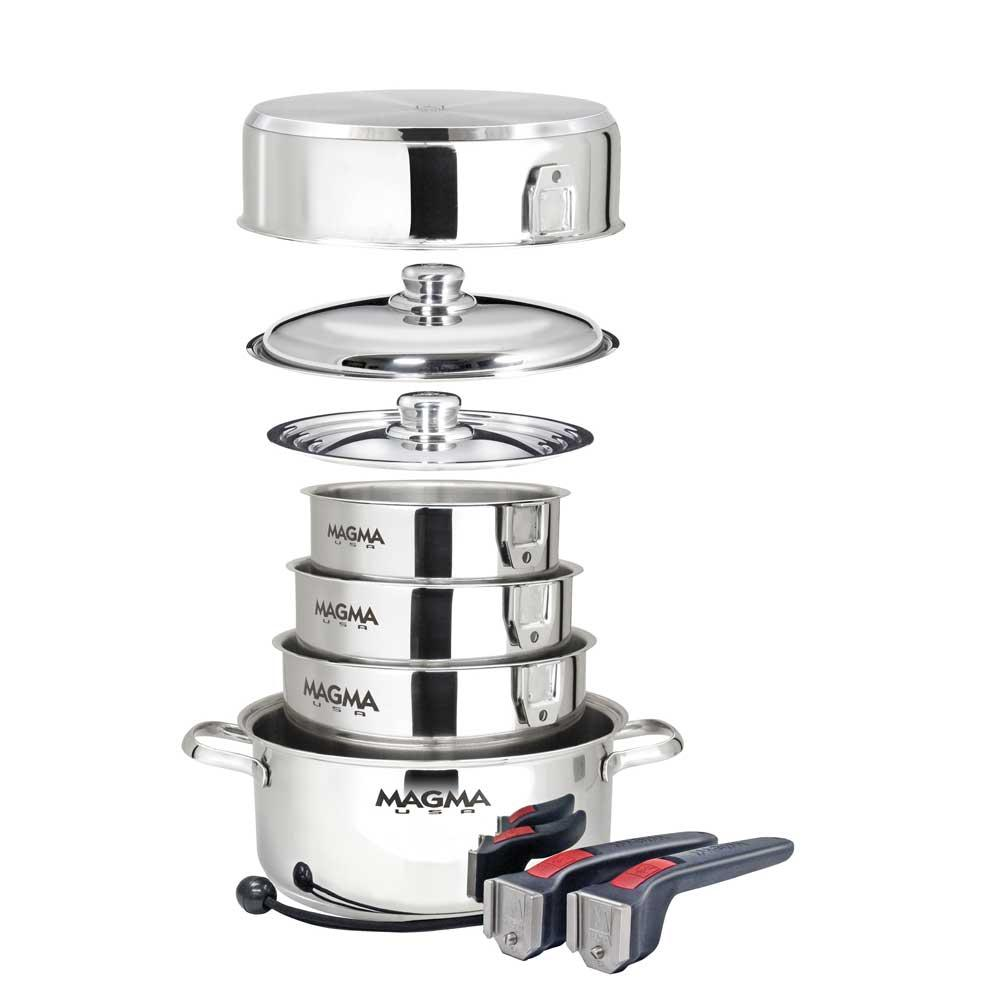 10-Piece Gourmet Nesting Stainless Steel Cookware Set - Magma A10 ...